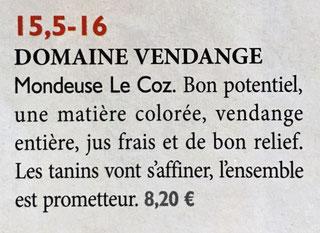 Revue des Vins de France Domaine Vendange Mondeuse Le Coz