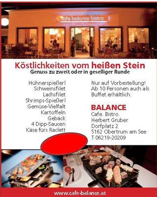 Köstlichkeiten vom heißen Stein im Cafe Balance Bistro in Obertrum am See
