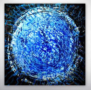 Moderne Malerei, abstrakte Bilder, gespachtelt, Blau, Silber, Rot, Bunt, Bilder mit Strukturen, Original Gemälde, Unikate,