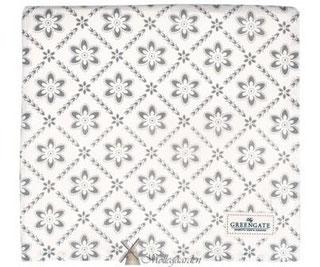 GreenGate Tischdecke grau-weiß mit Blumen