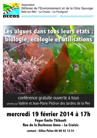 conférence gratuite sur algues le 19 février 2014 à 17h foyer Émile Thibault au Croisic