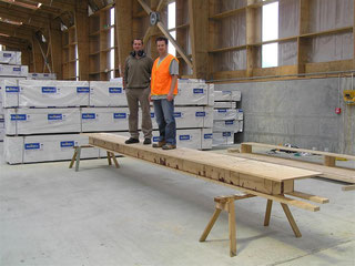 Gavin & Nelson Pine Industries' Andy Van Houtte 'Load Testing' a prototype panel in 2006
