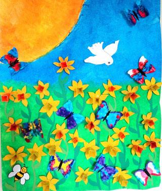 Frühling: Eierschachtelblumen und Schmetterlinge in 3D (4.HS)
