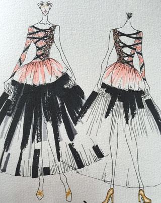 大幅なデザイン変更希望で出来上がりイメージが見たいという方にはバーシャデザイナーがステッチを提出する事も可能です。スケッチ費用1万円(ドレス購入金額からお引きします。)