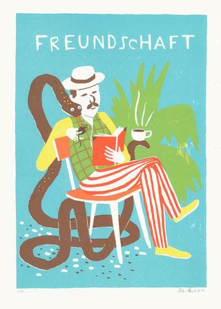Heike Herold, Siebdruck, Grafik, Illustration, Freundschaft