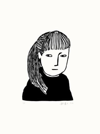 Heike Herold, Linolschnitt, Grafik, Portrait