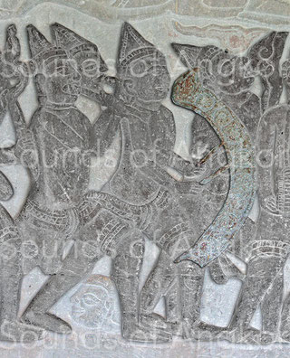 Nine-gong chime. Angkor Wat, north gallery. Krishna's victory over the Asura Bāna. 16th c.