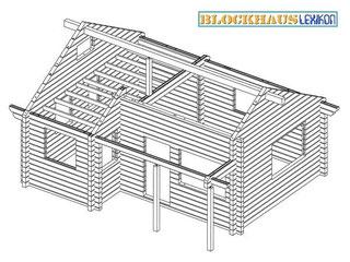 Blockbalkenskelett ohne Dachkonstruktion, Fenster und Türen