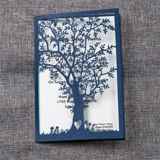 Lasercut Karte, Hochzeitskarte, Einladungskarte, wedding invitation