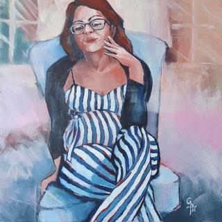 Galambos Rita festmény, bízz magadban, érzelmek, akrilfestmény, színes, modern festészet, kortárs magyar művész, szobabelső, ülő női alak, csíkos ruha,  szimbolikus festmény, magyar festőnő, Vorarlberg, Ausztria, Feldkirch