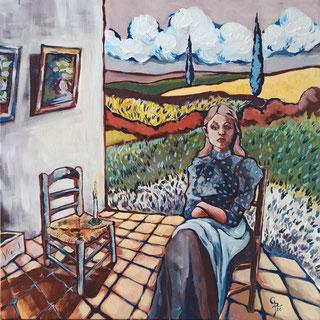 Galambos Rita festmény, Vincentre várva, akrilfestmény, színes tájkép, modern festészet, kortárs magyar művész, szobabelső, ülő női alak, szimbolikus festmény, magyar festőnő, Vorarlberg, Ausztria, Feldkirch