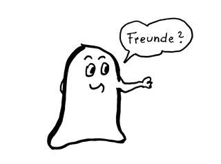 Glockenmännchen fragt nach: Freunde? Zeichnung von Claudia Pichler Mediation Salzburg