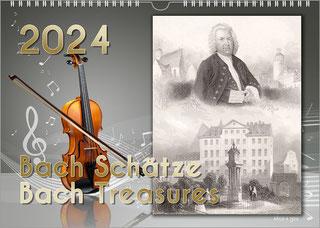 """Musikergeschenk Bach-Kalender. Unten ist der Titel """"Bach-Denkmäler - Bach Momuments"""". In den oberen 80 % sind alle 12 Bach-Denkmäler abgebildet in 4 Reihen zu jr 3 Hochformaten. Lauter bunte Live-Fotos."""