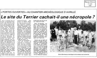 1989 - Le site du Terrier cachait-il une nécropole? - Presse Océan