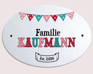 Türschild Familie Klingelschild Namensschild