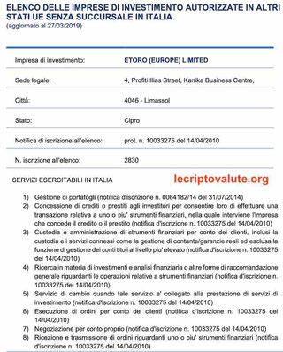 etoro autorizzazione consob Italia