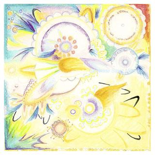 severine saint-maurice, les cercles de lumiere, illustration bien-être, dessin bien -être, dessin spiritualité, vente achat dessin peinture, oeuvre originale, illustration enfant, papier canson, soleil, mandala