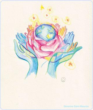 la beauté du monde, rose, terre, severine saint-maurice, lescerclesdelumiere.com, les cercles de lumiere, illustration terre