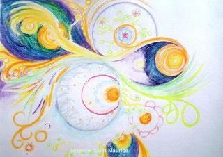 severine Saint-Maurice, lescerclesdelumiere.com, dessin, art, crayons de couleur, dessin intuitif