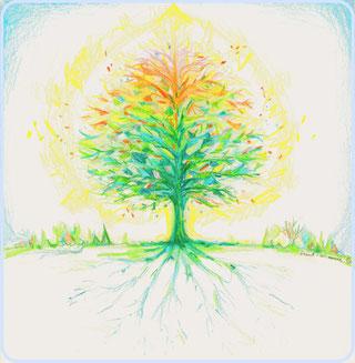 severine saint-maurice, les cercles de lumiere, illustration bien-être, dessin bien -être, dessin spiritualité, vente achat dessin peinture, oeuvre originale, illustration enfant, papier canson, arbre de vie, arbre