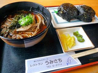蕎麦・岩のりオニギリ定食(2014/08/03)