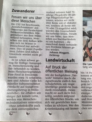 Leserbrief Westf. Nachrichten