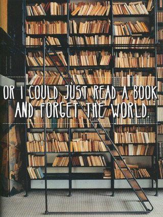 or I could just read a book and forget the world Oder ich könnte ein Buch lesen und die Welt vergessen
