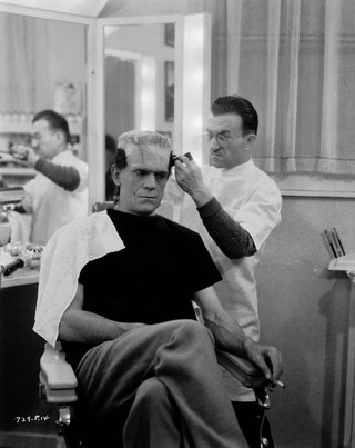 Jack Pierce maquillant Boris Karloff