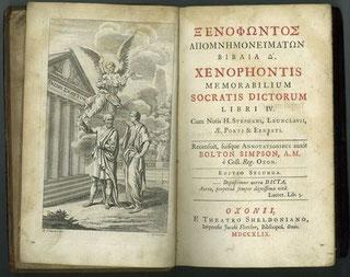Xenophons ›memorabilia‹ in einer altgriechischen Ausgabe des 18. Jahrhunderts
