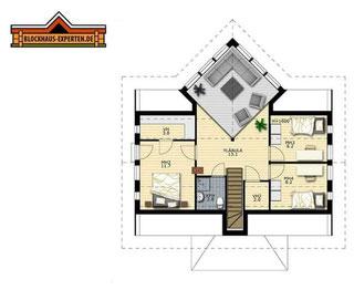 Hausentwurf:  OG-Grundriss von Blockhaus als Wohnhaus
