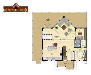 EG-Grundriss von Blockhaus