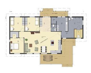 Wohnblockhaus - Grundriss - Blockhausbau