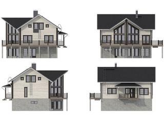 Holzhaus als Hanghaus -Ansichten des Blockhauses