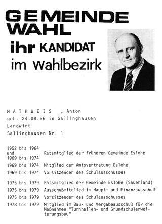 Wiedergefunden: Vorstellung als Kandidat zum Gemeinderat 1979