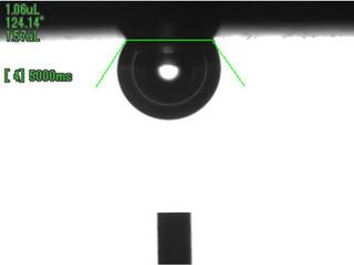 液中での気体の接触角:拡大図