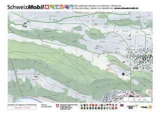 Uebersicht über das vorgesehene  Exkursionsgebiet westlich von Liesberg