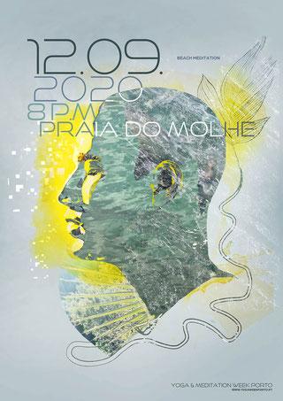 Yoga & Meditation Week Porto 2020, Beach Meditation | Veranstaltungsplakat