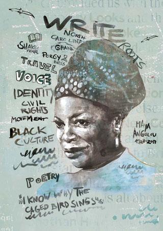Strong Black Female Voices | Maya Angelou Portrait | Collage Artwork & Plakat-Layout