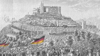 Der Zug der Teilnehmer zur Kundgebung auf dem Hambacher Schloss im Jahre1832