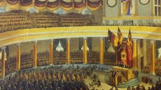Das Parlament in der Frankfurter Paulskirche, dem zahlreiche Burschenschafter angehörten