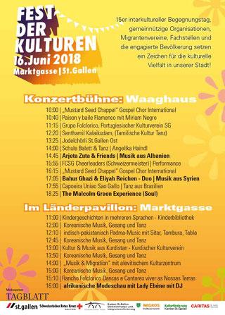 Das Programm der Bühne und vom Länderpavillon