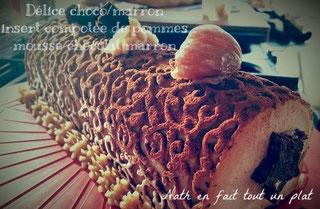 mousse marron chocolat, insert confit de pommes