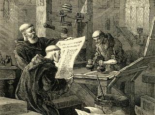 Die Schrift-Gelehrten und Bücher-Drucker von damals. Was sich geändert hat, dass es die ersten nicht mehr gibt und die zweiten auch nicht.