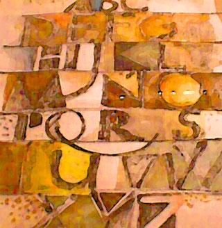 Carlfritz Nicolay malte diese Buchstaben-Collage