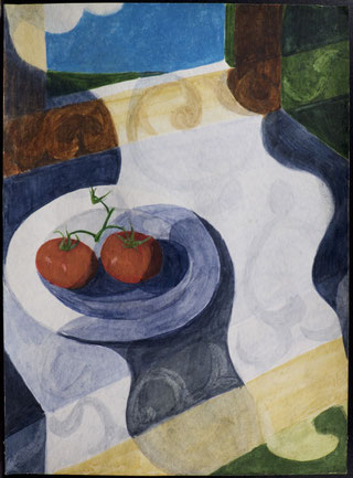 francois beaudry watercolor and gouache painting still life tablecloth plate tomatoes motif blue table series study 5