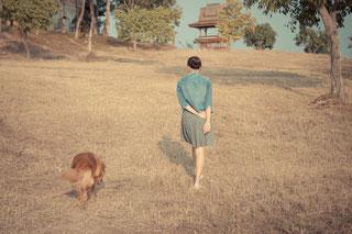 Mensch und Hund gehen in der Natur spazieren