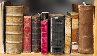 Verschiedene Bücher stehen in einem Regal