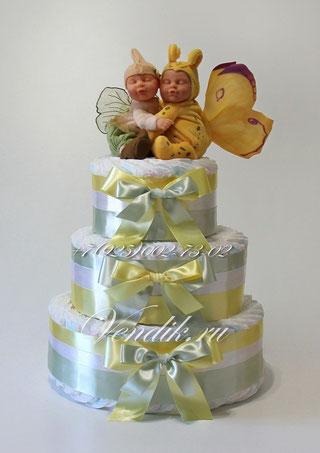 """© Большой торт из памперсов для двойняшек """"Милые бабочки"""" (из коллекции """"Сон на двоих"""")"""