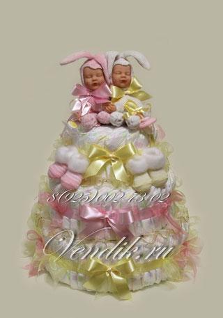 """© Большой торт из подгузников для близнецов """"Заюшки"""" (из коллекции""""Сон на двоих"""")"""
