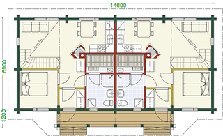 Doppelhaus - Blockhaus - EG Grundriss